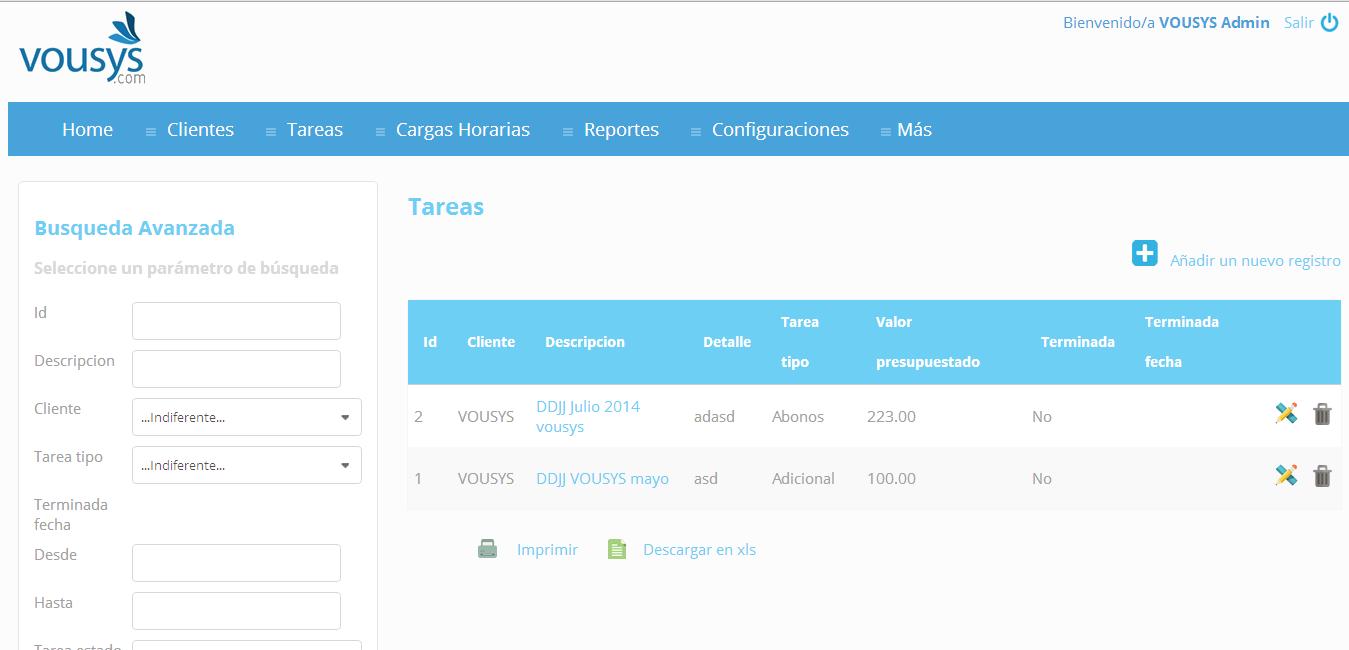 Vousys.com // Sistema de control de tareas